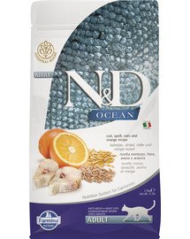 N&D Ocean cat adult codfish, spelt, oats and orange 1,5 kg