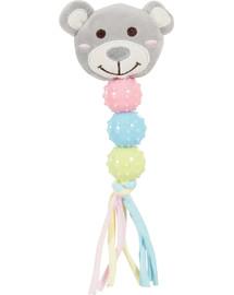 Zabawka pluszowa dla szczeniaka miś grzechotka, z dźwiękiem szara