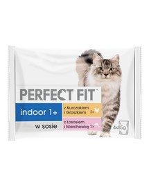 Indoor 1+ Saszetki mokra karma dla kotów kurczak i łosoś 4*85 g