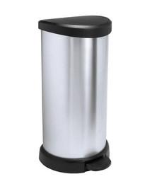 Kosz na śmieci metalizowany 40 l z pedałem czarny/srebrny metalizowany