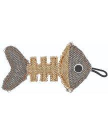 Szkielet ryby z mocnego materiału szary/kremowy 14 x 7,5 cm