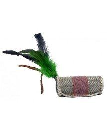 Walec z piórkiem i sznurkiem z trawy z mocnego materiału szary/fioletowy 4 x 9,5 cm