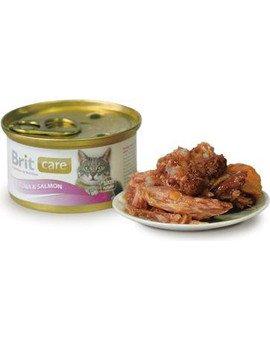 Puszka 80g mokra karma dla kotów z tuńczykem i łososiem