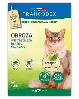 Obroża dla kotów powyżej 2 kg odstraszająca insekty - 4 miesiące ochrony, 43 cm
