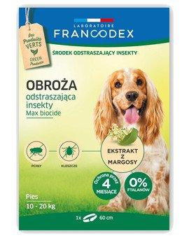 Obroża dla średnich psów od 10 kg do 20 kg odstraszająca insekty - 4 miesiące ochrony, 60 cm