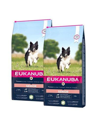 EUKANUBA Dry Base Senior Small & Medium Breeds Lamb & Rice 24 kg (2 x 12 kg)