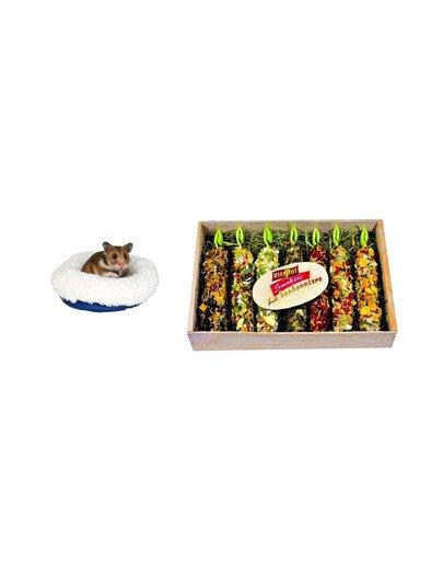 VITAPOL Zestaw świąteczny Bombonierka z kolbami + legowisko dla chomika
