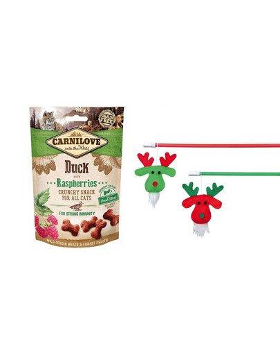 CARNILOVE Zestaw świąteczny Przysmaki z kaczką 50 g + wędka zabawka dla kota