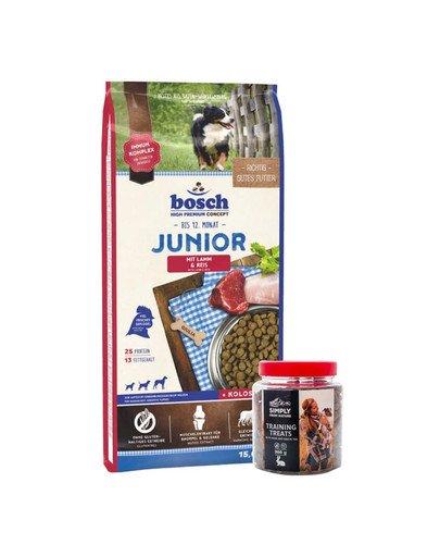 BOSCH Junior jagnięcina z ryżem 15 kg + przysmaki treningowe z zającem 300 g