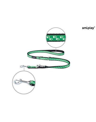 Smycz nxr 100 - 200 cm /2 cm łapki na zielonym tle