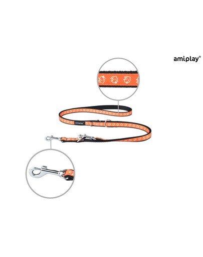 Smycz nxr 100 - 200 cm / 2 cm piesek na pomarańczowym tle