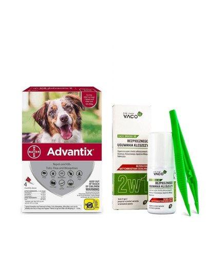 BAYER ADVANTIX Roztwór do nakrapiania dla psów od 10 do 25 kg (4 x 2,5 ml) + VACO ECO Środek do bezpiecznego usuwania kleszczy (2w1) 1 szt.