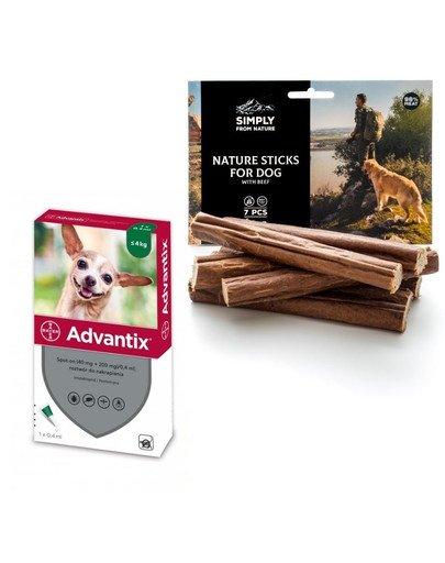 BAYER ADVANTIX Roztwór do nakrapiania dla psów do 4 kg (1 x 0,4 ml) + SIMPLY FROM NATURE Naturalne cygara z wołowiną 3 szt.