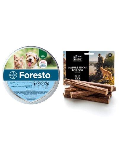 BAYER FORESTO Obroża dla kota i psa przeciw kleszczom i pchłom poniżej 8 kg + SIMPLY FROM NATURE Naturalne cygara z wołowiną 3 szt.
