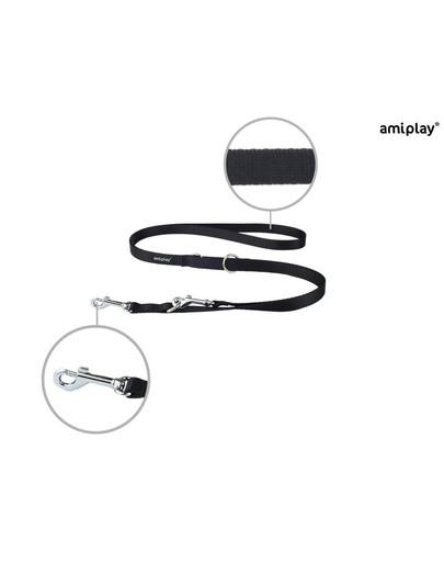 Smycz taśma basic reg. nr 1-2m/1 cm czarna