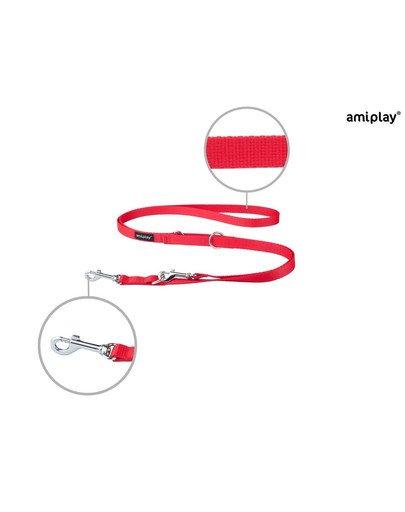 Smycz taśma basic reg. nr 1-2m/1 cm czerwona