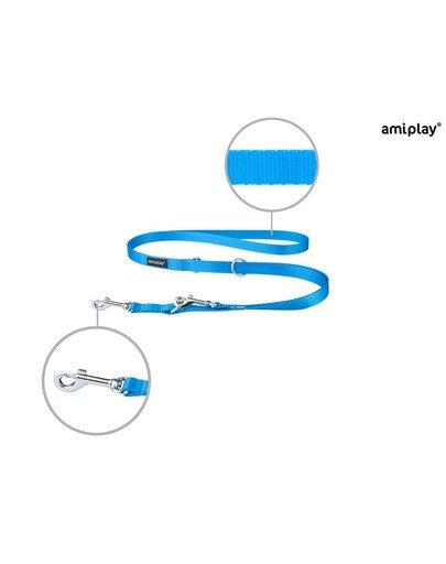 Smycz taśma basic reg. nr 1-2m/1.5 cm niebieska
