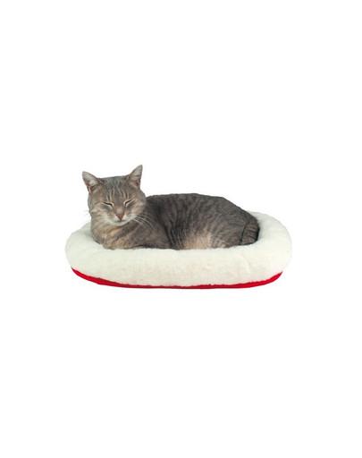 Legowisko dla kota 45 x 30 cm  biało - czerwone