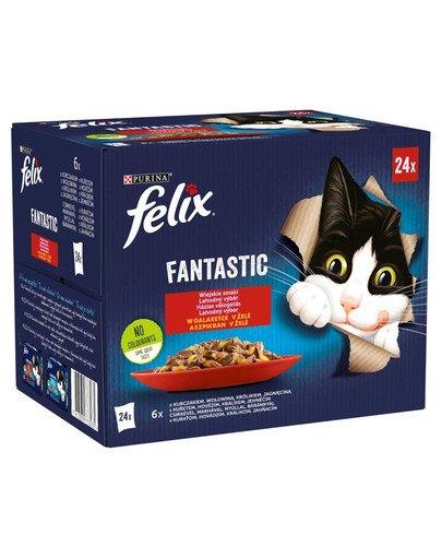 FANTASTIC Wiejskie Smaki w galaretce (kurczak, wołowina, królik, jagnięcina) 24x85g mokra karma dla kota