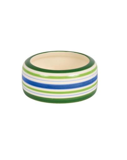 Miska ceramiczna dla świnki morskiej zielona paski 200 ml