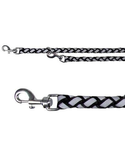 Smycz nylonowa 2 m / 12 mm srebrno-czarna