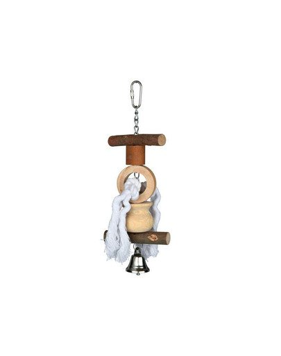 Natural living toy with bell/rope 20 cm