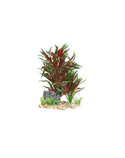 Plastic plant in gravel bed. 28 cm