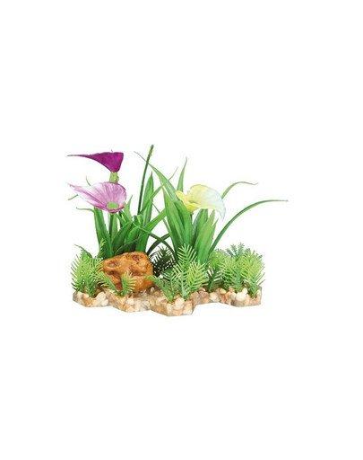 Plastic plant in gravel bed. 13 cm