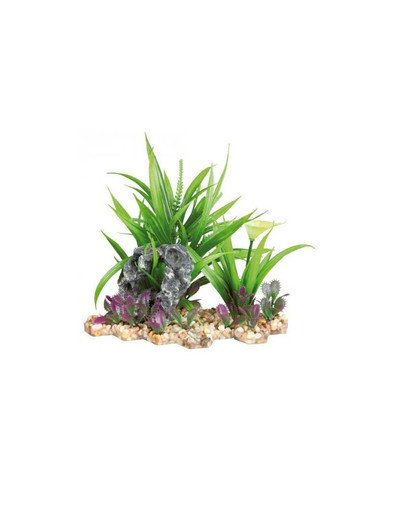 Plastic plant in gravel bed. 18 cm
