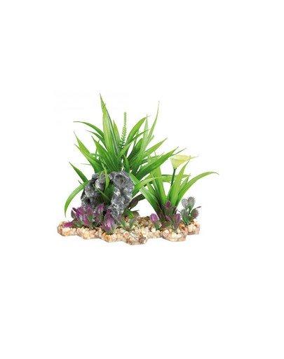 Plastic plant in gravel bed. 28 cm Akwarium