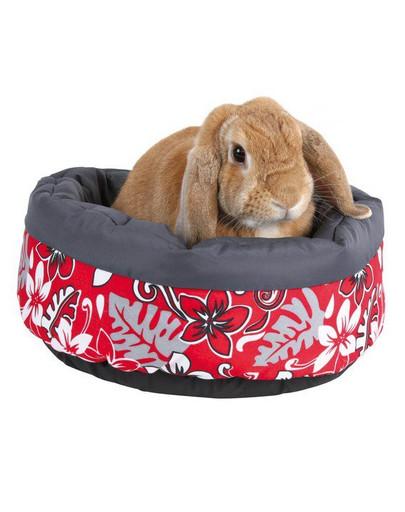 Legowisko dla królika flower. śr. 35 cm. czerwone