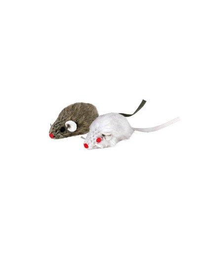 Mysz szara i biała z dzwonkiem