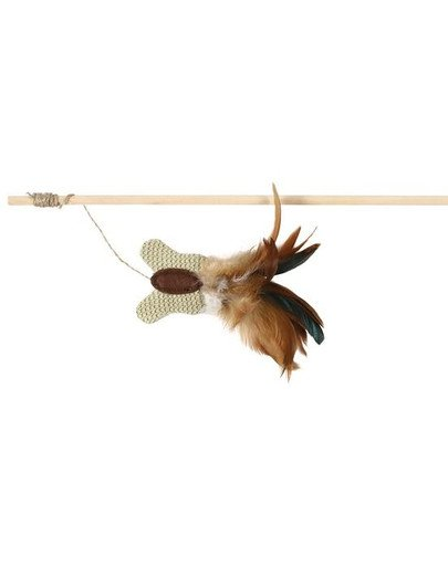 Wędka mysz z piórami 50 cm ciemny brąz