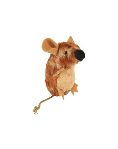 Zabawka mysz stojąca brązowa (z dźwiękiem). 8 cm