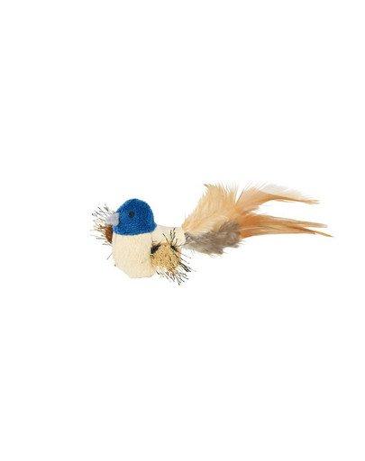Zabawka ptaszek z piórami i kocimiętką 8 cm