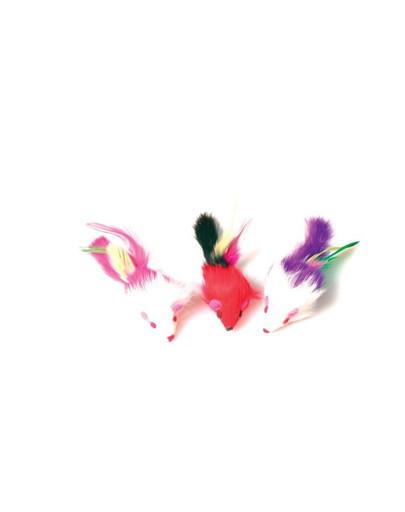 Zabawka dla kota 3 myszki z piórami