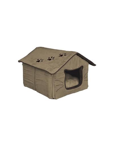 Domek dla kota 35 x 30 x 40 cm beżowo / brązowe