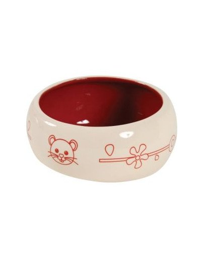 Miska Ceramiczna Dla Gryzonia Zapobiega Wydostawaniu Się Karmy Lub Wody 1 l Kol. Czerwony