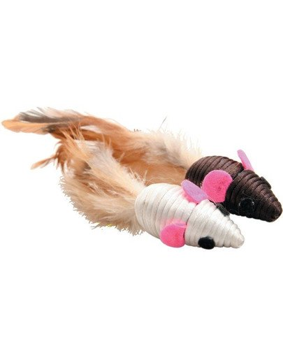 Zabawki Dla Kota 2 Myszy Z Piórkami 5 cm