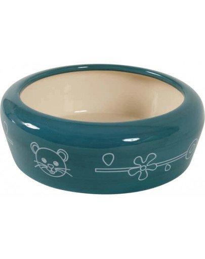 Miska Ceramiczna Dla Gryzonia Zapobiega Wydostawaniu Się Karmy Lub Wody 700 ml Kol. Niebieski