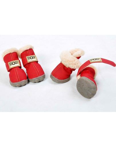 Buty dla psa T1 (4x3cm. wysokość cholewki 7cm) czerwone-4szt.