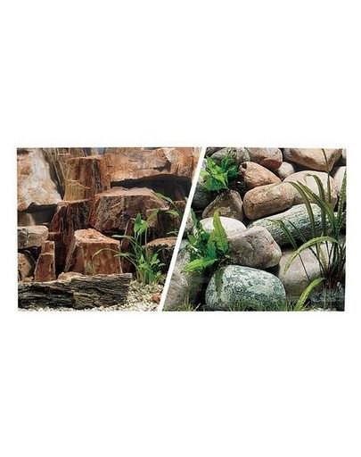 Dwustronne tło do akwarium Kamienie/Dno rzeki 30cmx7.5m