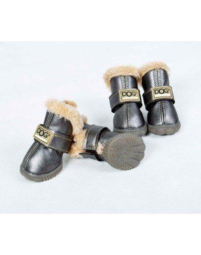 Buty dla psa T1 (4x3cm. wysokość cholewki 7cm) srebrne-4szt.