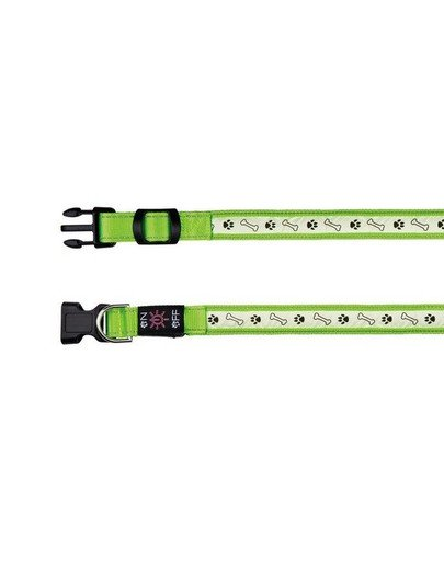 Obroża z lampą na USB, S–M: 30–40 cm/25 mm, zielona