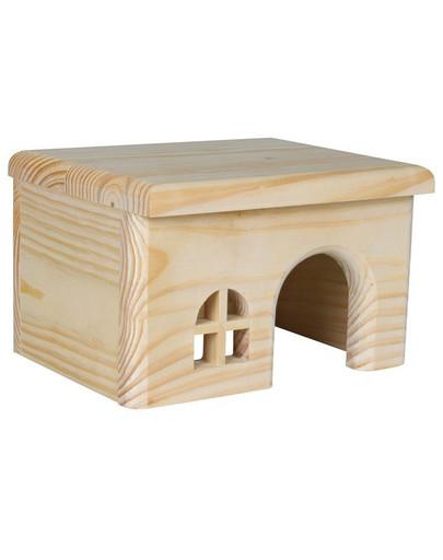 Domek drewniany z drzewa sosnowego dla królika 40 x 20 x 23 cm