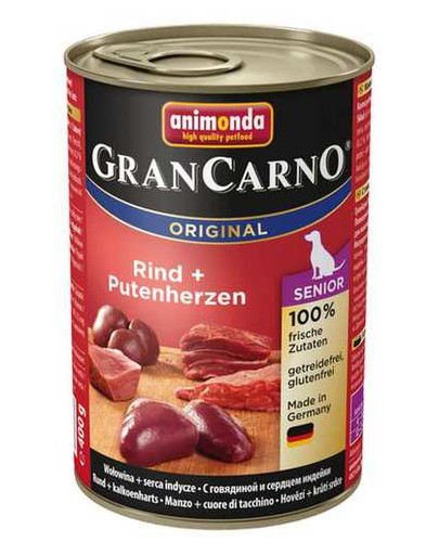 Grancarno Senior kurczak i serca indycze 400 g