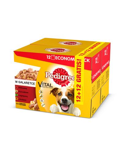 Adult 12+12 GRATIS - mokra karma dla psów kurczak, jagnięcina, drób, wołowina w galaretce 100 g