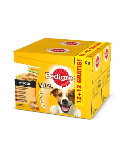 Adult 12+12 GRATIS - mokra karma dla psów z wołowiną, kurczakiem, indykiem 100 g