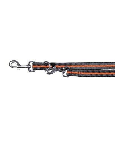"""Smycz """"Fusion adjustable lead"""" S - L 2 m / 17 mm czarno - pomarańczowy"""