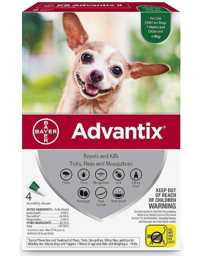 ADVANTIX Roztwór do nakrapiania dla psów do 4 kg (4 x  0,4 ml)